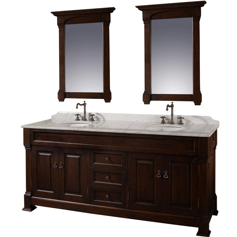 amazoncom wyndham collection andover 72 inch double bathroom vanity in dark cherry white carrera marble countertop white undermount round sinks