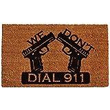 "Home & More 121511729 Dial 911 Doormat, 17"" x 29"" x 0.60"", Natural/Black"
