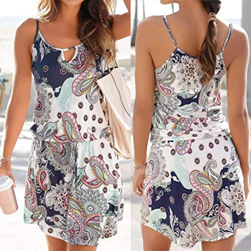 Quelife Dress for Women Casual Bohemia Printed Sleeveless Summer Halter Dresses Girl Ladies for Party (White,M) by Quelife (Image #1)