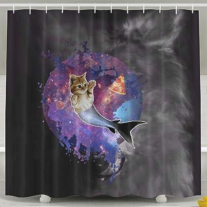Amazon JIAYOUL Funny Space Cat Purrmaid Fashion Shower Curtain