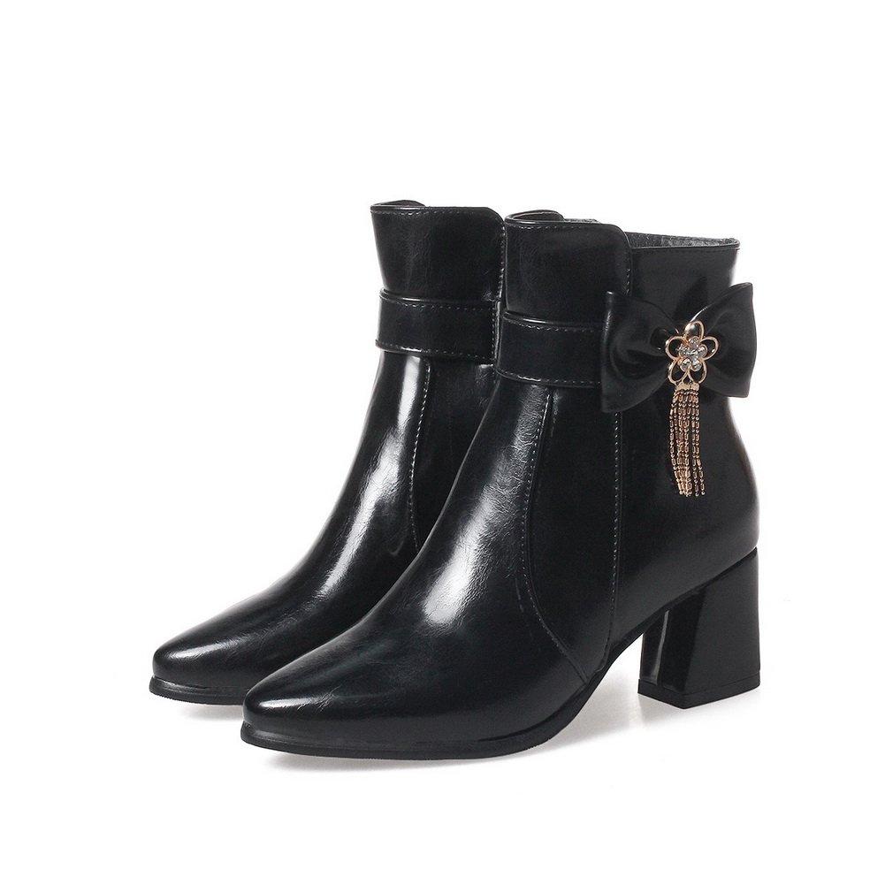 AandN Womens Boots Closed-Toe Zip Kitten-Heel Fringed Warm Lining Fringed Kitten-Heel Waterproof Smooth Leather Zipper Bootie Urethane Boots DKU01880 B07918R4LJ Western 277843
