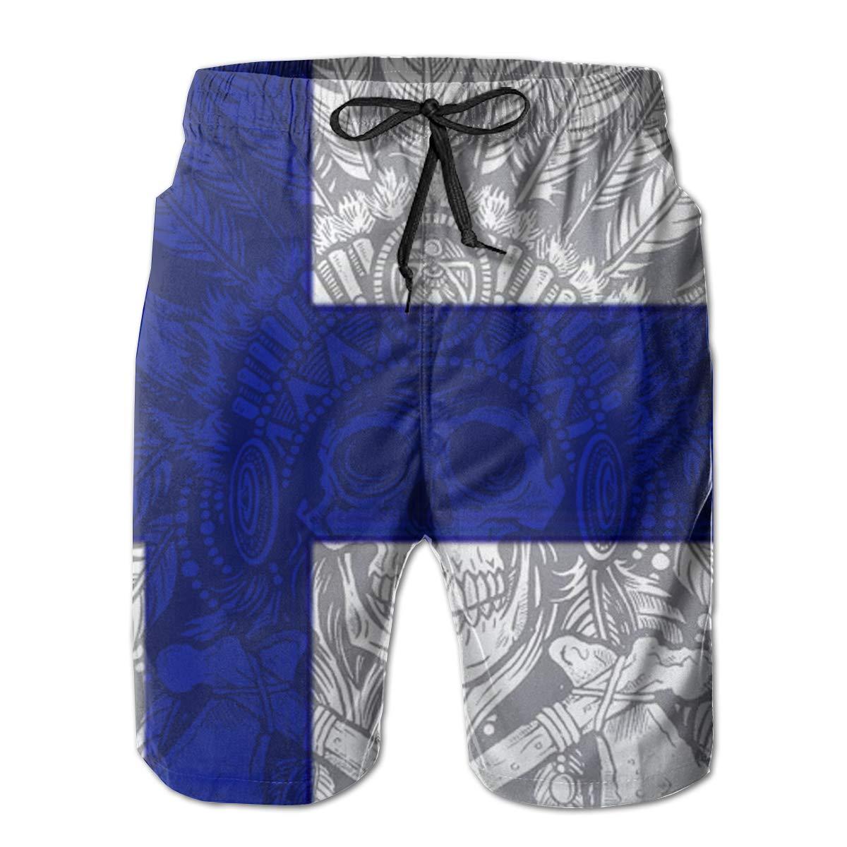 ONE-HEART-HR Men Tribal Skull Finland Flag Summer Swim Trunk Board Short Beach Shorts