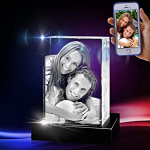 3D Crystal Photo - 3D Crystal Picture Cube Hand Cut - Personalized with Custom Engraving, Free LED Base Included - Engraved Crystal Photo as Memorable Gift and Keepsake, Medium Portrait