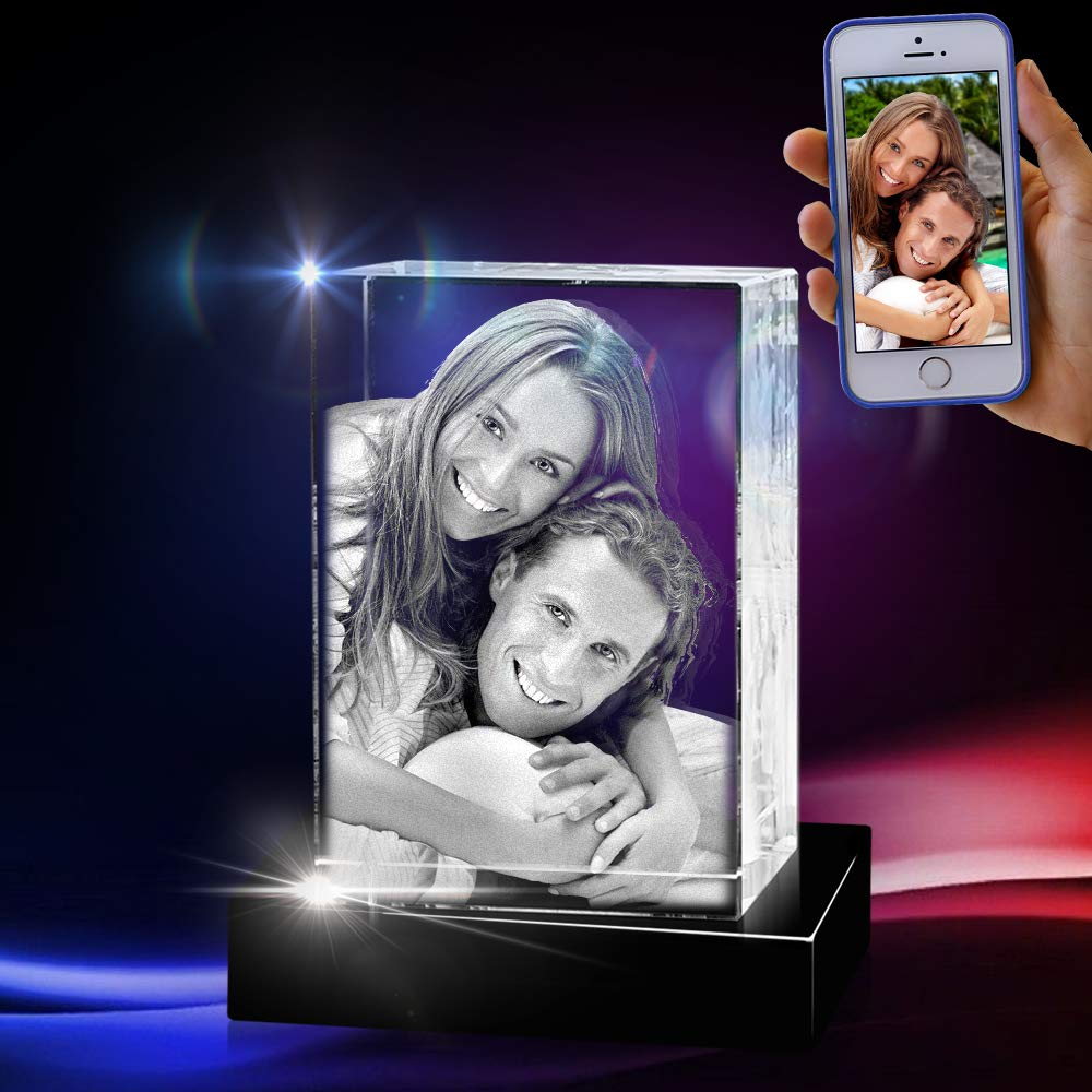 3D Cube Crystal with a Free LED Base That Illuminates The Crystal, Personalize with Your own Custom Engraving (Medium Portrait) by 3D innovation