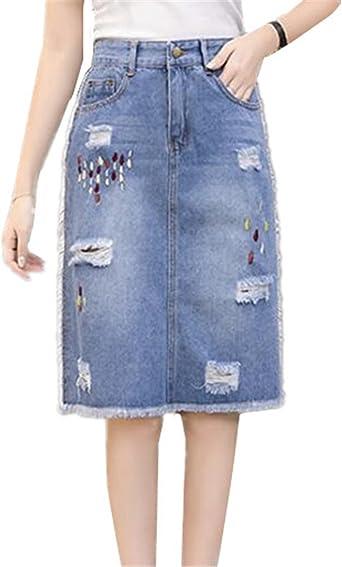BESTHOO Jupe En Jean Femme Skirt Avec Poches Jupe En Denim