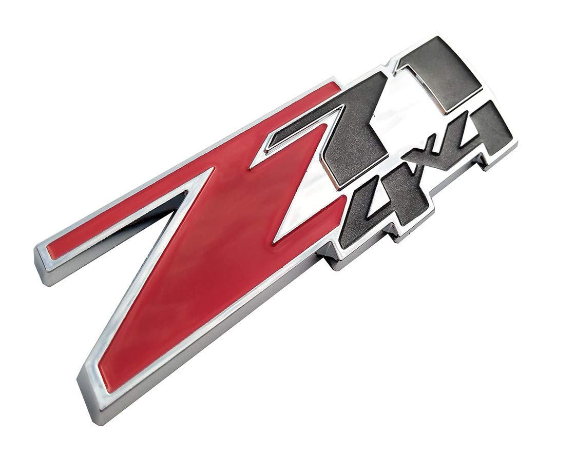 Plate with Chrome Base for GMC Chevy Silverado Sierra Tahoe Z71 4x4 Replacement Emblems 1500 2500 3500 Car Decal 2 Pack Z71 4x4 Emblem Badges, Small Size
