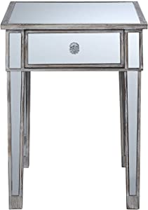 Convenience Concepts Gold Coast Mirrored End Table with Drawer, Weathered White