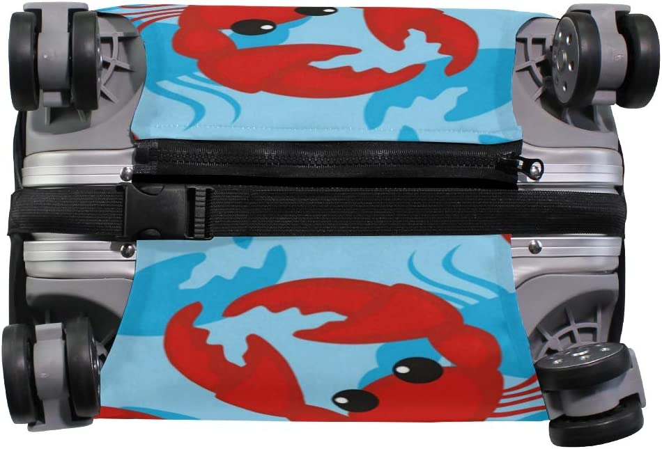Travel Luggage Cover Red Crab Pattern Blue Background Suitcase Protector