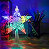 Christmas Tree Star Topper, VOLADOR 6 Christmas Star Lights for Holiday Decorations- Multicolor