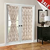 french door country curtains - French Door Panel Curtains Paisley Scroll Printed Linen Textured French Door Curtains 72 inches Long French Door Panels, Tieback Included, 1 Panel, Taupe