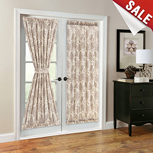 French Door Panel Curtains Paisley Scroll Printed Linen Textured French Door Curtains 72 inches Long French Door Panels, Tieback Included, 1 Panel, Taupe