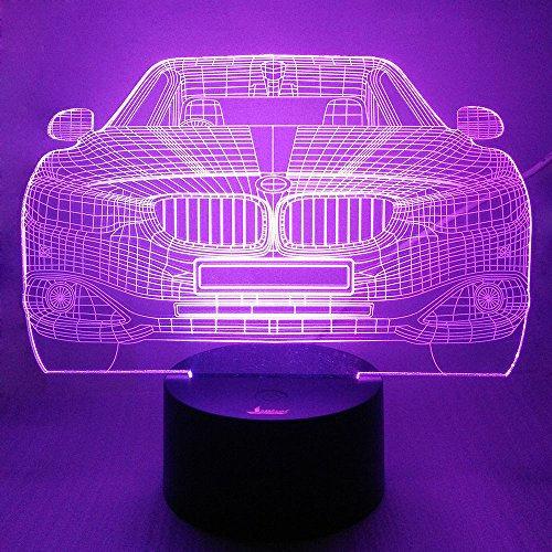 Cool Car 3D Night Light LED Illusion Lamp Bedside Desk Table Lamp, Loveboat 7 Color Changing Lights with Acrylic Flat and ABS Base and USB Charger as Home Decor -