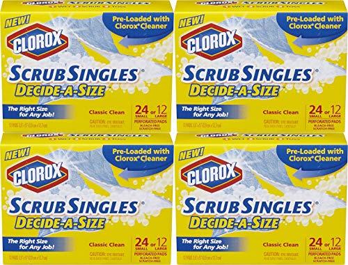 Clorox ScrubSingles Decide-A-Size, 12 Count (Pack of 4) Total 48 Pads (Clorox Blue Tub & Tile Scrubber Refill)