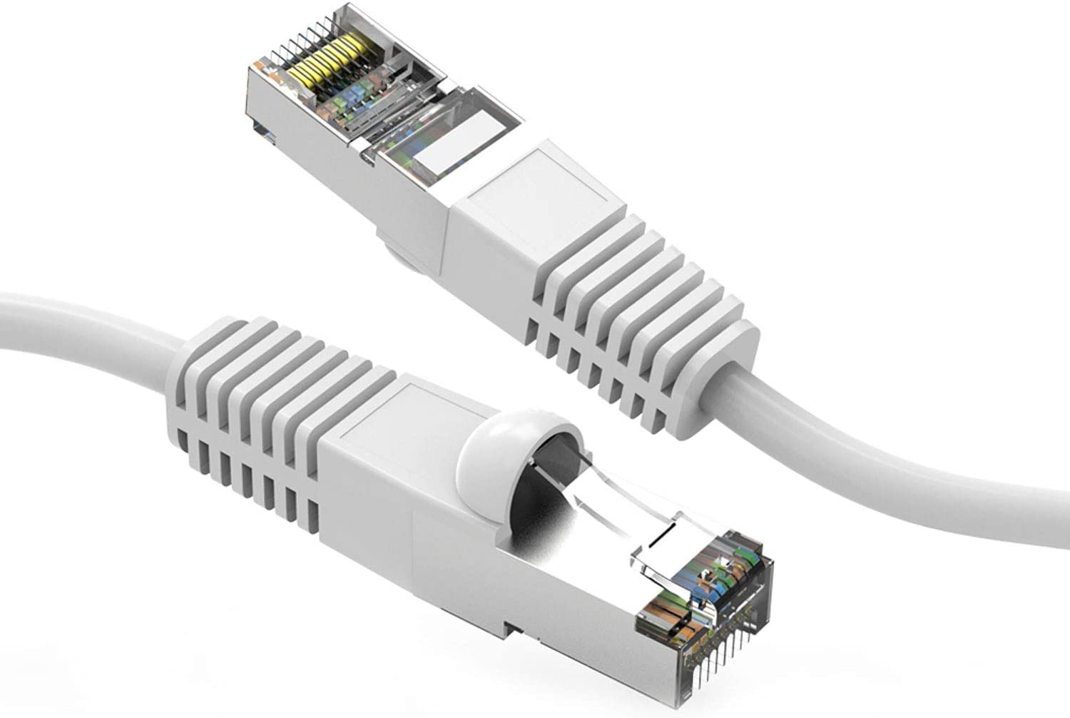 10 Gigabit//Sec High Speed LAN Internet//Patch Cable 3-Pack - 3 Feet 24AWG Network Cable with Gold Plated RJ45 Molded//Booted Connector White CABLECHOICE Cat6 Shielded Ethernet Cable 550MHz