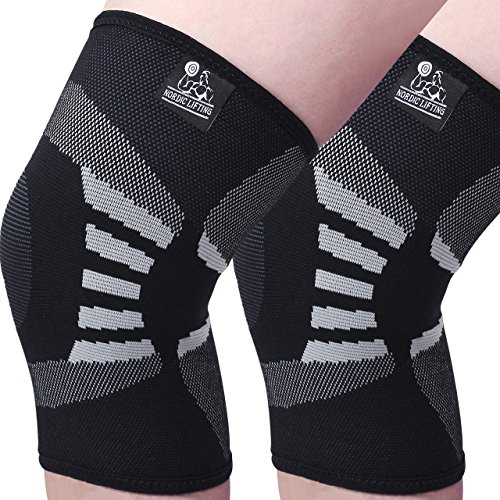 Knee Compression Sleeves (1 Pair) - Support for Arthritis Prevention & Recovery - 1 Year Warranty (Large, Grey) (Under Athletic Supporter Armor)