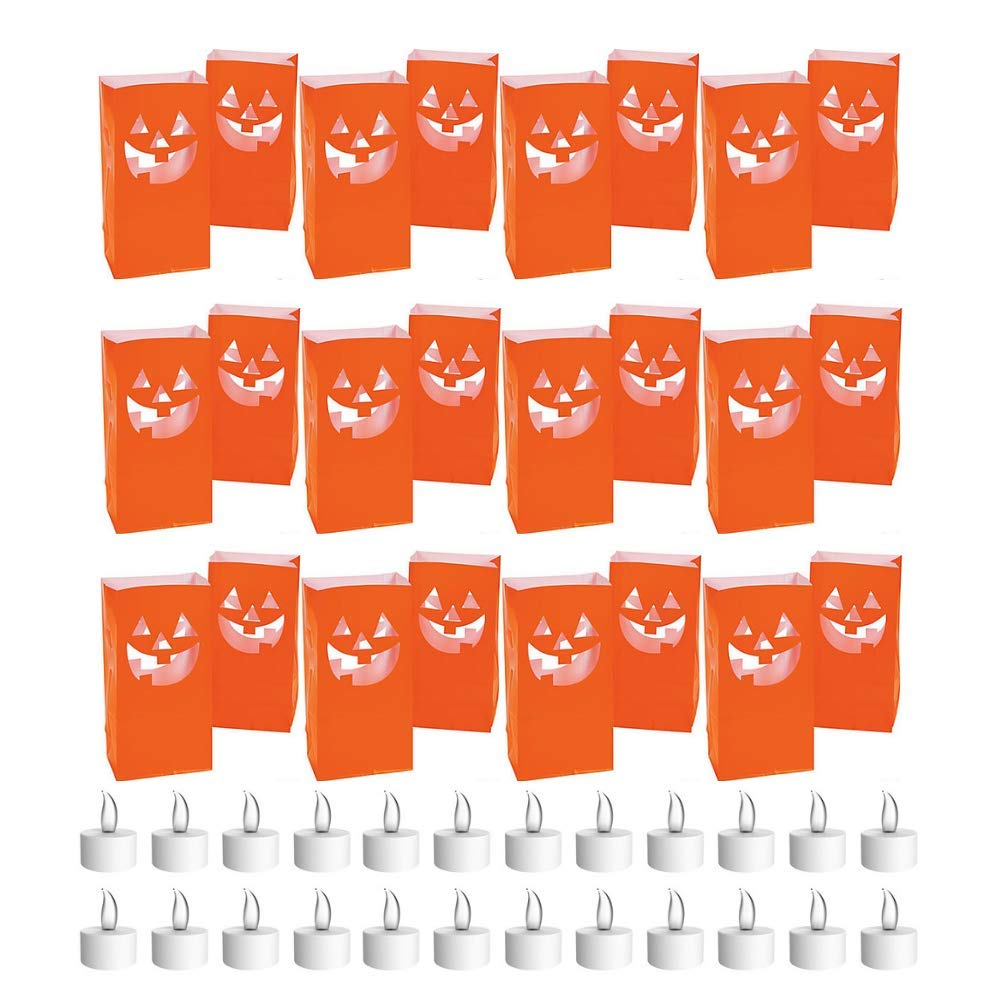 Live It Up! Party Supplies Jack-O-Lantern Luminaries and Battery-Operated Tea Lights - Pumpkin Orange (24 Pack) by Live It Up! Party Supplies