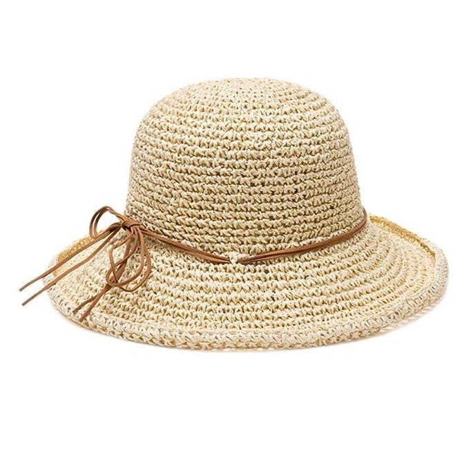 Sombrero De Paja Para Mujer De Playa Gorra Plegable Verano Flexible Sol  Años 20 Con Protector 98f468f1c4a
