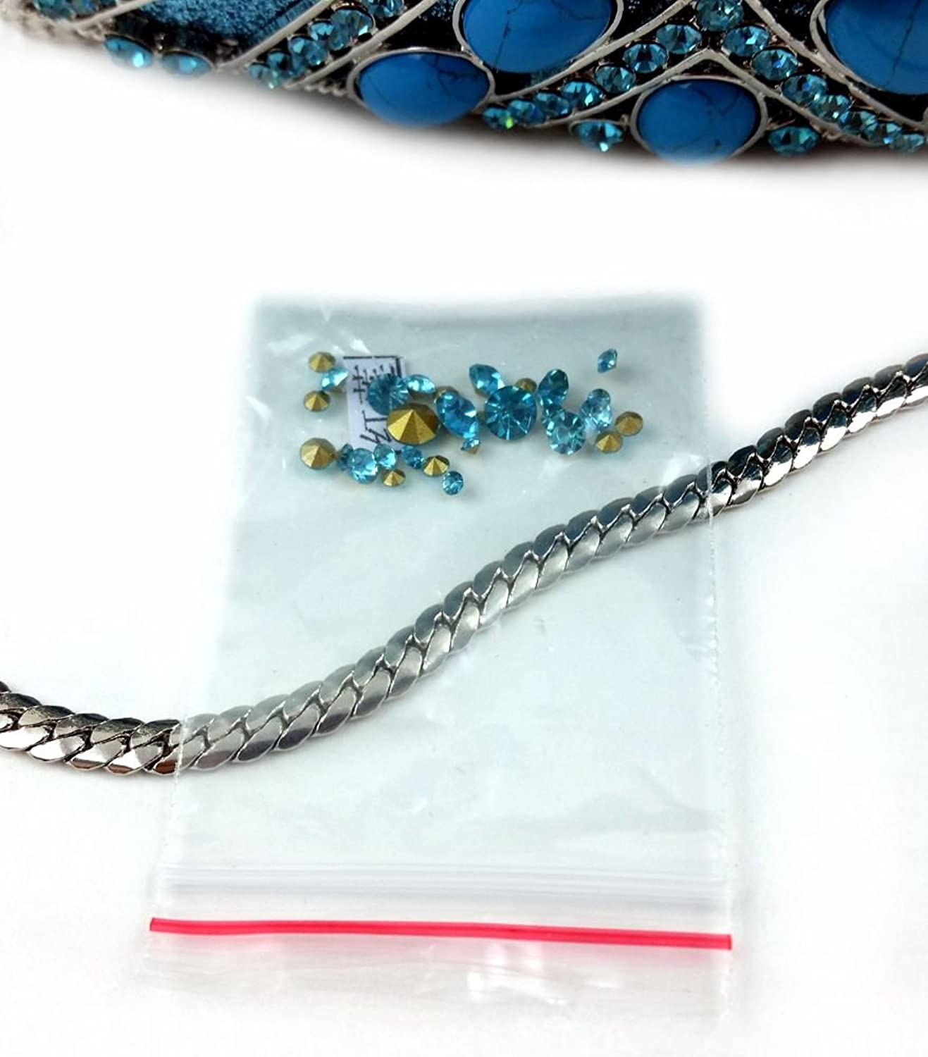 """Tikal"" Turquoise Stones & Swarovski Crystal Studded Clutch Purse, 10"" chain, Hard Case, Leather-lined."