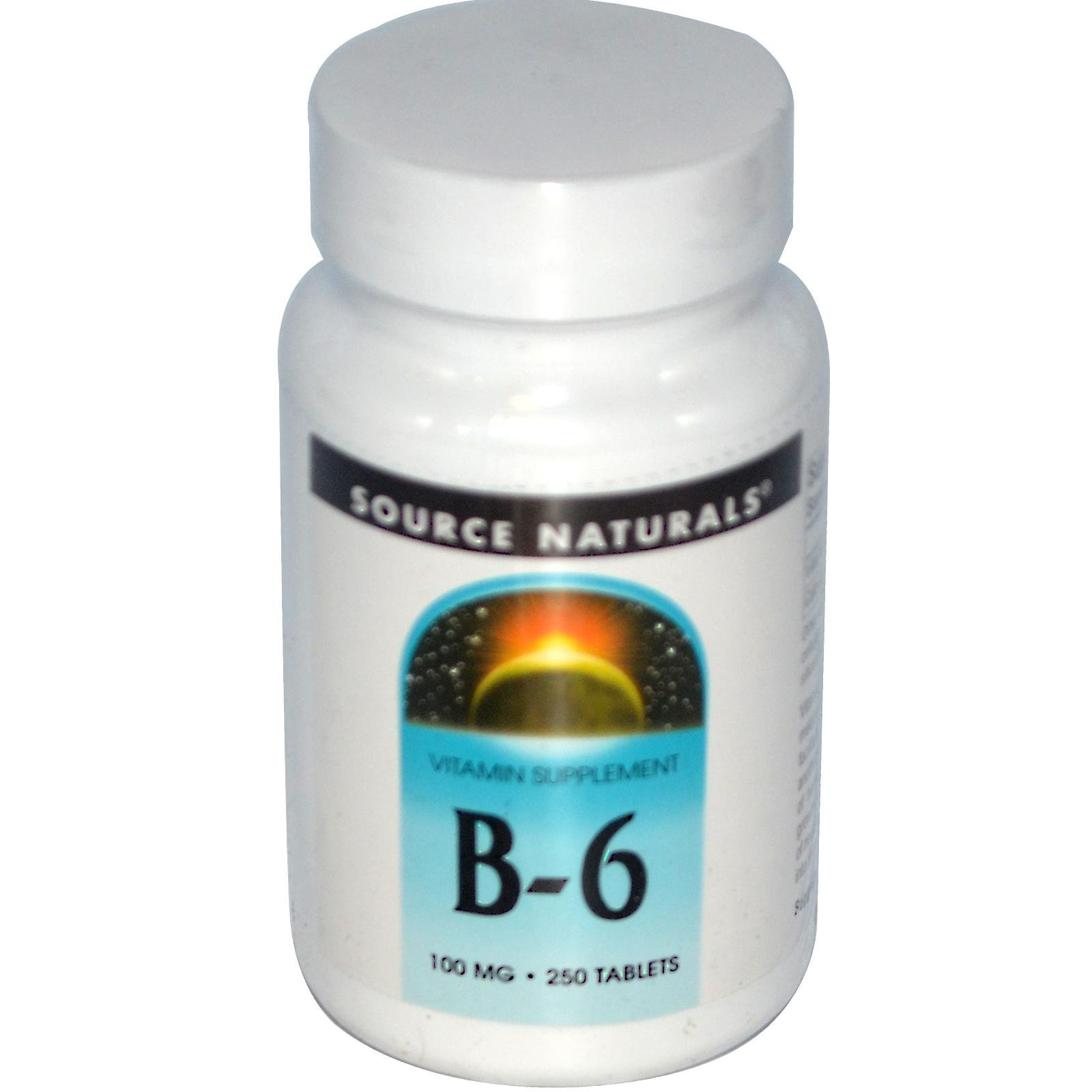 Vitamin B-6, 100 mg, 250 Tabs by Source Naturals (Pack of 6)