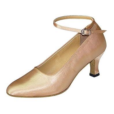 YFF Geschenke Frauen Dance Shoes Ballroom Latin Dance Tango Tanz shoes 6CM,Apricot color,40 LEIT