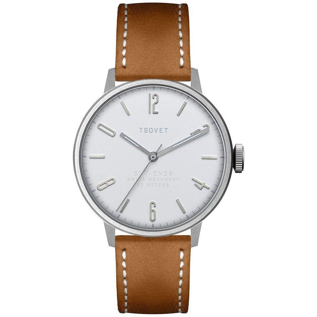 Tsovet SVT-CN38 Silver & White Watch | Tan Leather