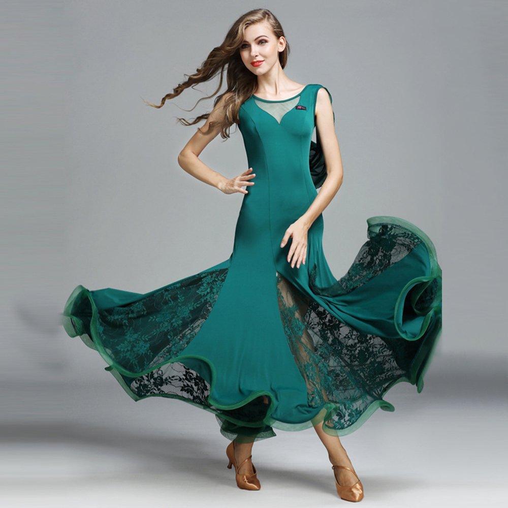 現代の女性の大きな振り子ホットアイスシルクモダンダンスドレスタンゴとワルツダンスドレスダンスコンペティションスカートレースなし袖ダンスコスチューム B07HHQN94Z XXL|Green Green XXL