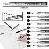Black Micro-Pen Fineliner Ink Pens - Waterproof
