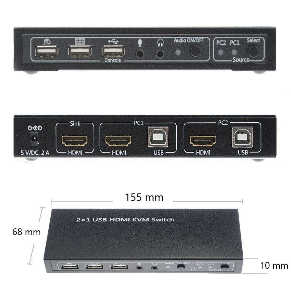 A ADWITS 2-Port 2-IN-1-OUT HDMI 4K@30Hz 1080P@60Hz 3D Ultra HD KVM Switch with Audio Switch, MIC, USB 2.0 Hub, UL Certified Safety Power Adapter, Windows Mac OS Linux PC Laptop Compatible by A ADWITS (Image #2)