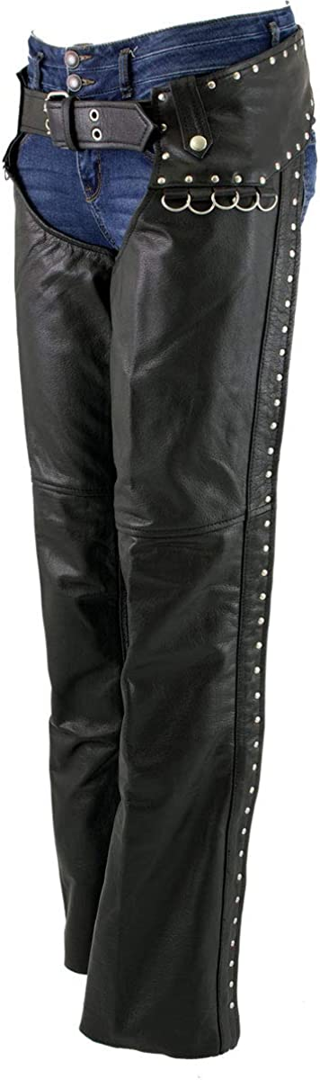Xelement XS7590 Ladies 'Riveted' Low price Chaps Sale item Black Leather Classic