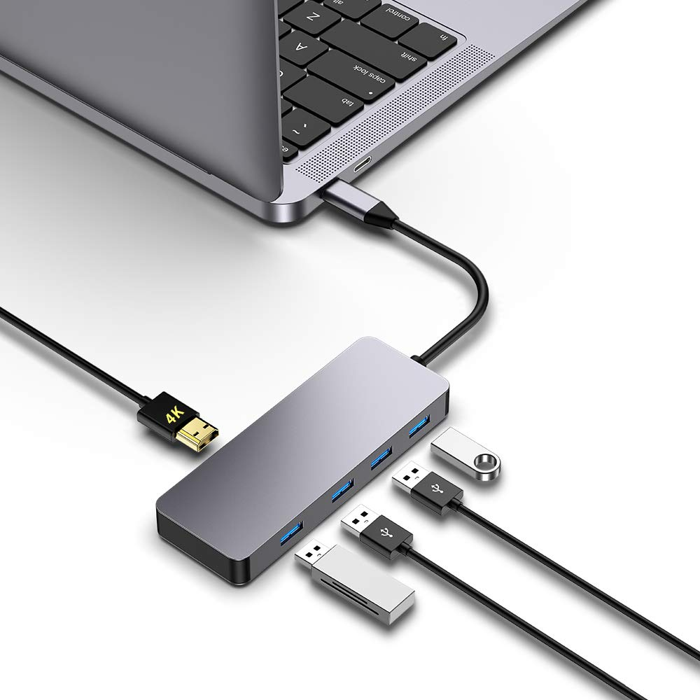 USB C Hub, Type C Hub,mreechan 5 in 1 USB C Adapter with, 4K USB C to HDMI, 4 USB 3.0 Ports 5Gbps Data Transfer, Portable for Compatible with MacBook Pro 2018/2017/2016 13/15inch,MacBook Air 2018 13 by mreechan