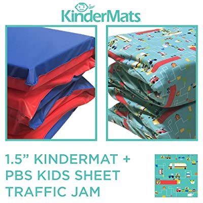 """KinderMat, KinderBundle, Includes 1.5"""" and PBS Kids Full Cover Sheet, Traffic Jam, Regular: Kitchen & Dining"""