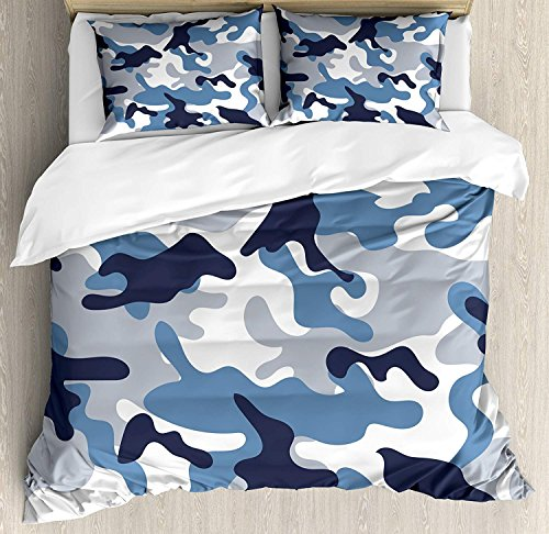 (Anzona Queen Size Camouflage 3 PCS Duvet Cover Set, Illustration with Abstract Soft Colors Pattern Camouflage Design, Bedding Set Bedspread for Children/Teens/Adults/Kids, Slate Blue Indigo Grey)