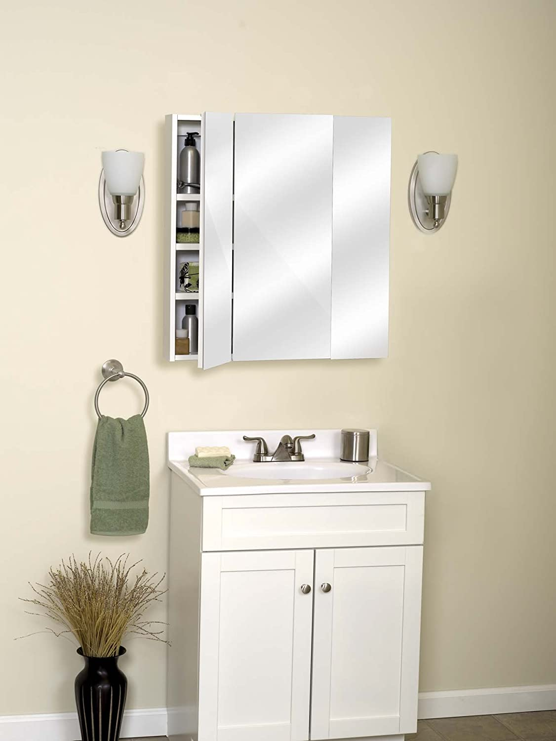 Amazon.com: Zenith M24, Beveled Tri-View Medicine Cabinet, Frameless ...