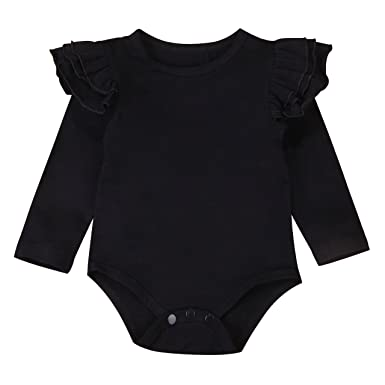605a1438f73f Infant Baby Girl Basic Ruffle Long Sleeve Cotton Romper Bodysuit Tops  Clothes (Black