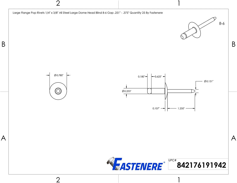 Dome Head Qty 1000 8-6 Large Flange Pop Rivets 1//4 x 3//8All Steel