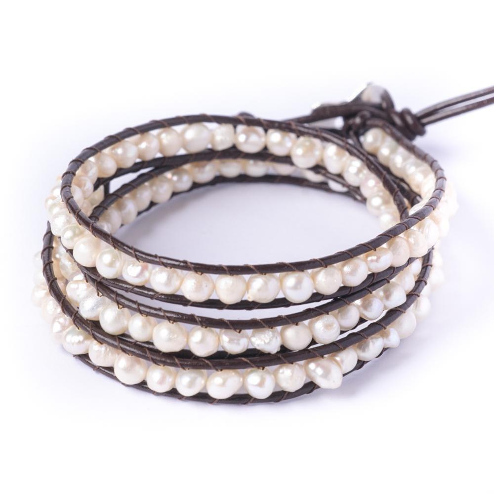 81stgeneration Women's Simulated Pearl 5-6 mm Silver Tone 3 Line Wrap Friendship Bracelet, 51 - 56 cm