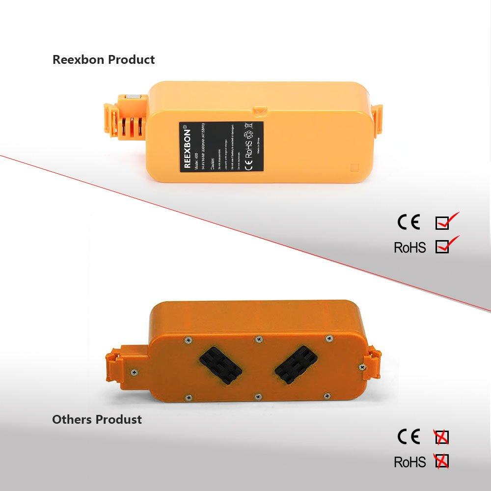 14.4V 3300mAh NIMH Vacuum Cleaner Battery for iRobot Roomba 405 410 415 416 4000 4100 4105 4110 4130 4150 4170 4220 4225 4310 4320439 4410 4430 4440 49054910 REEXBON Battery Series 400 Irobot Roomba