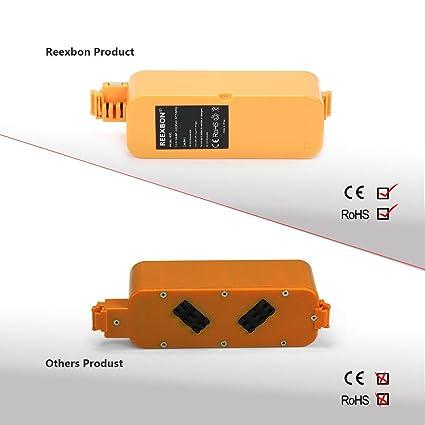 REEXBON 14.4V 3300mAh NIMH Roomba Serie 400 Batería Del Aspirador para iRobot Roomba 400 405 410 415 416 4100 4105 4110 4130 4150 4170 4220 4225: Amazon.es: ...