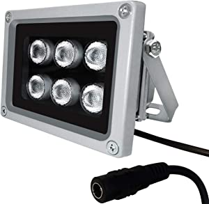 IR Illuminator,850nm 6-LED IR Illuminators,Ir Lights for Security Cameras,Long Range Infrared Light,Outdoor Infrared Illuminator for CCTV IP Camera Night Vision,Ir Floodlight Wide Angle Ir Light