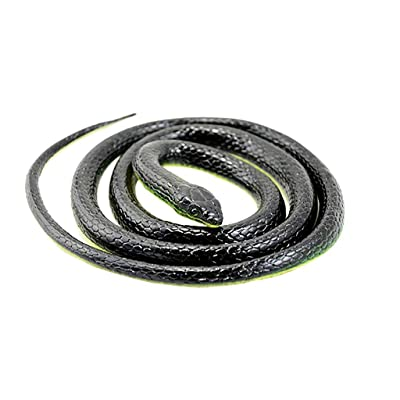 Huitrady Fake Snake, Rubber Snake Toy Realistic Fake Rubber Toy Snake Black Fake Snake Fools Day (Black): Home & Kitchen