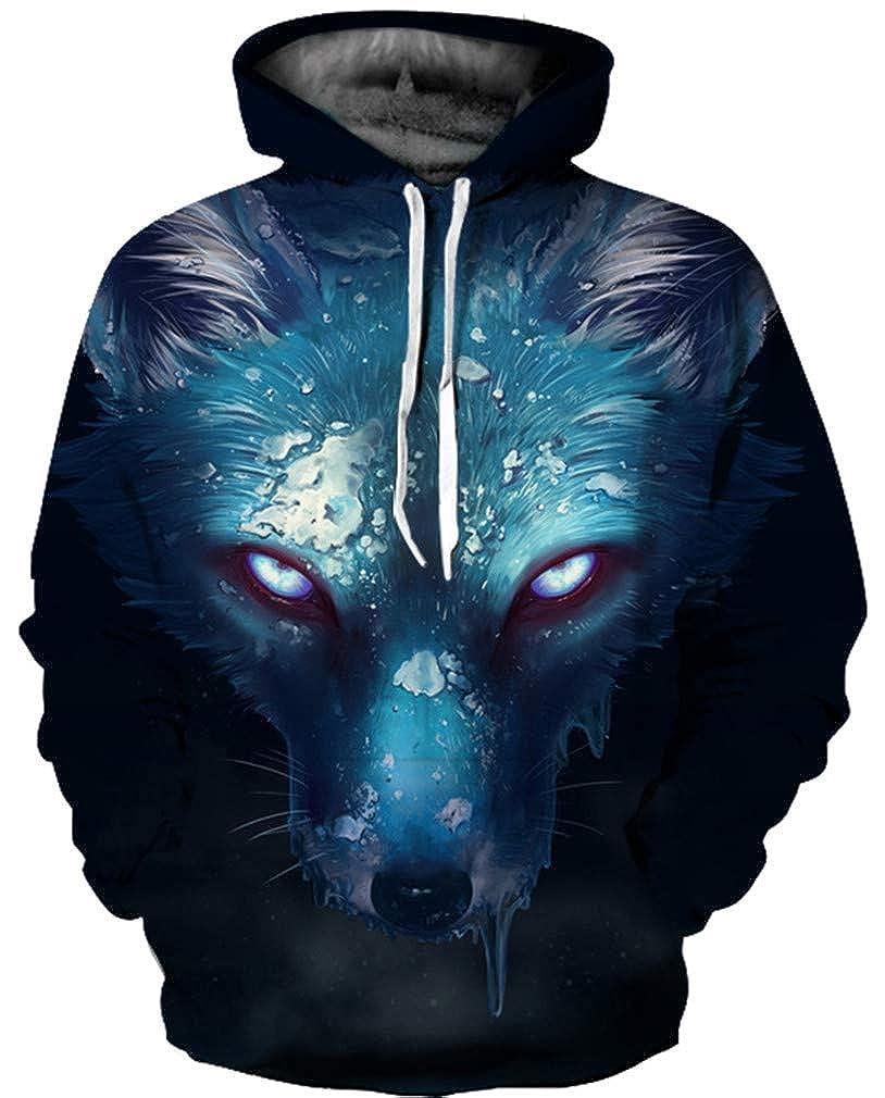 TALLA S/M (cofre: 112-132 CM). Ocean Plus Hombre 3D Sudaderas Suéter de Lobo Colorido Sudadera con Capucha Cráneo