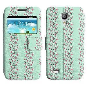 Be-Star Diseño Impreso Colorido Slim Casa Carcasa Funda Case PU Cuero - Stand Function para Samsung Galaxy S4 mini / i9190 / i9192 ( Pink Flower )