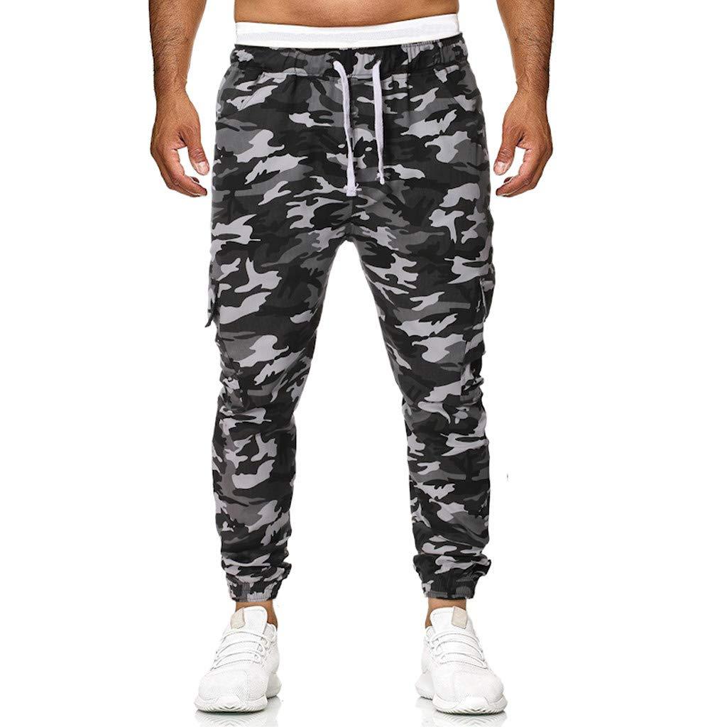 Seaintheson Men's Camo Pants,Casual Elastic Waist Sweatpants Youth Athletic Slim Fit Hiking Pants Jogging Trousers