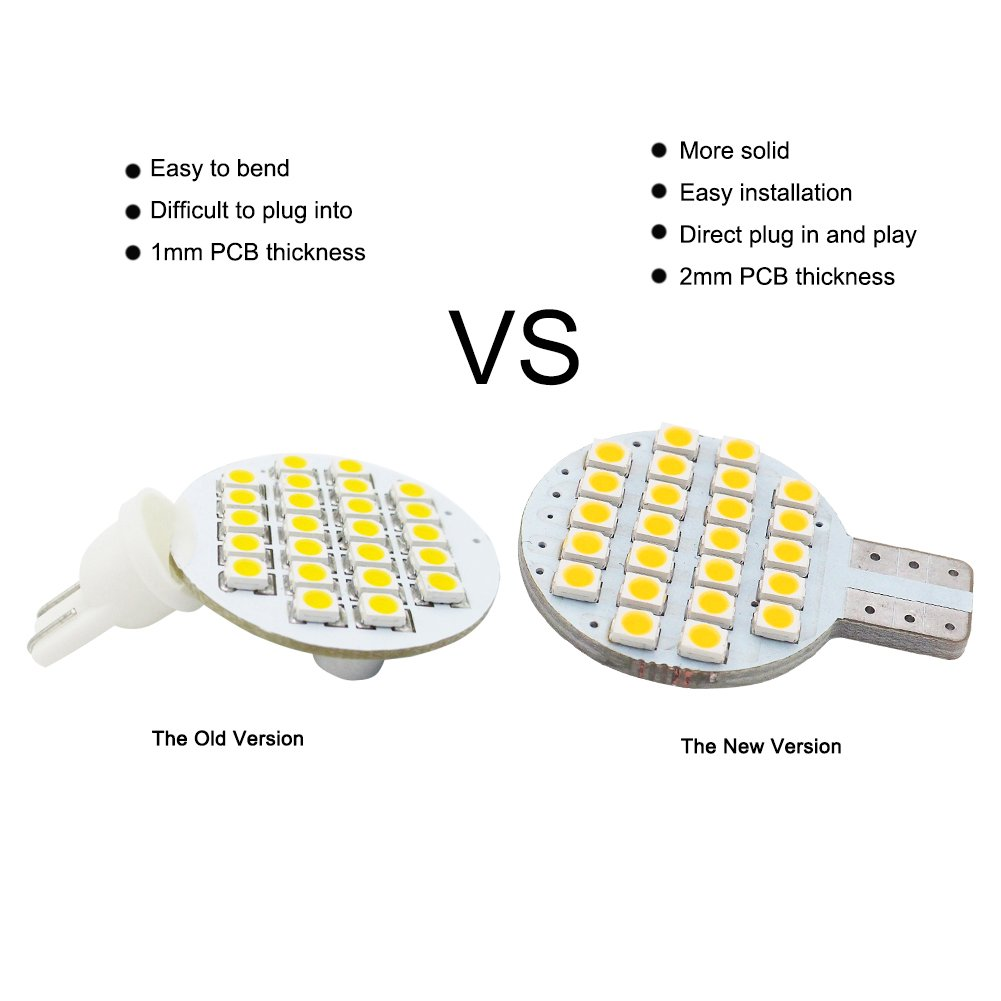 20x Grv T10 LED Light Bulb 921 194 192 C921 24-3528 SMD Super Bright Lamp DC 12V 2 Watt for Car RV Boat Ceiling Dome Interior Lights Warm White (2nd Generation) by GRV (Image #3)