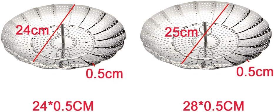 Sofort-Topf und Schnellkochtopf-Zubeh/ör Free Size L zusammenklappbar verstellbar erweiterbarer D/ämpfkorb 28 * 0.5cm faltbarer Edelstahl-Sieb D/ämpfkorb