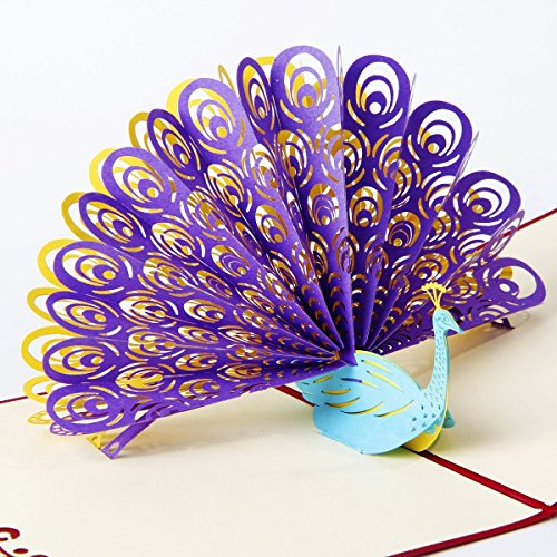 3D Peacock Pop Up Card and Envelope - Funny Unique Pop Up Greeting Card for Birthday, Christmas, New Year, Anniversary, Valentine, Wedding, Graduation, Thank You. Purple tail blue peacock (E Greeting Cards For Christmas And New Year)