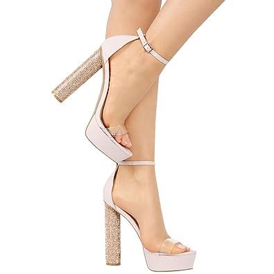 20c8a65436 Amazon.com | Wild Diva Womens Open Toe Ankle Strap Rhinestone Heel Platform  Lucite Clear Sandals | Sandals