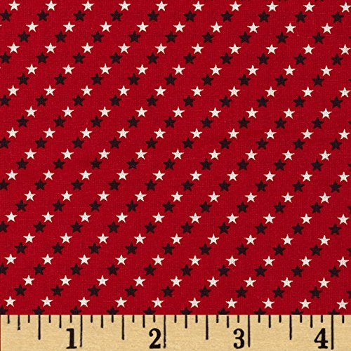 Santee Print Works Made in The USA Small Stars Red White Blue Fabric by The Yard ()