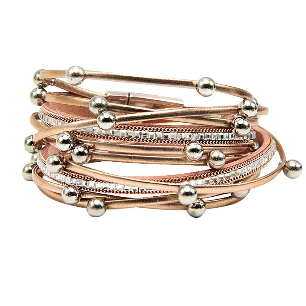Multi Layer Leather Bracelets Double Wrap Leather Bracelet with Metallic Crystal Bead Boho Braided Leather Rope Alloy Magnetic Clasp Handmade Braided Wrap Cuff Bangle for Women Girl Gifts