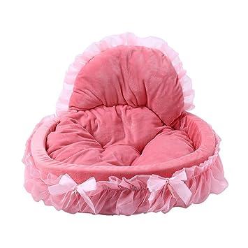 Perfectii Princesa Cama Para Perros, Peluche Suave Acolchado Perros Cama De DiseñO Sofá Cesta Lace Princess Bed Perros Mascotas Cama